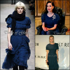 £3K+ Burberry Prorsum Runway Blue SILK CHIFFON Evening Cocktail Dress Size IT38