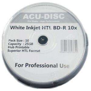 10x BDR ACUDISC BLURAY 10X SPEED WHITE INKJET PRINTABLE DISCS 25GB  10 PACK - Belvedere, United Kingdom - 10x BDR ACUDISC BLURAY 10X SPEED WHITE INKJET PRINTABLE DISCS 25GB  10 PACK - Belvedere, United Kingdom