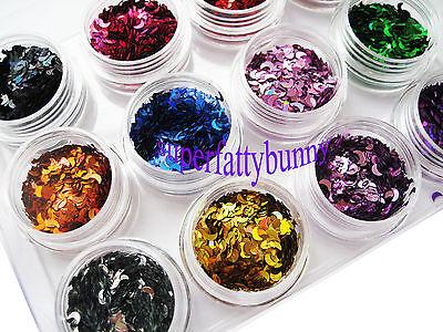12 Nail Art Glitter Shapes Confetti Sequins Heart Square Acrylic Tips UV Gel