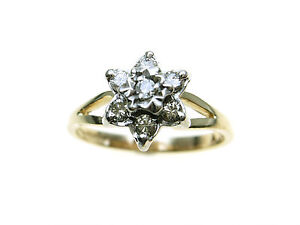 9ct-Gold-7-Diamond-star-cluster-ring-Total-Carat-Weight-TCW-0-20-Size-M