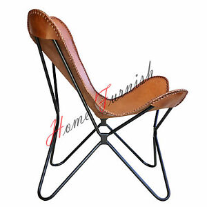 Image Is Loading Leather Butterfly Chair Hardoy Butterfly Brown Leather  Chair