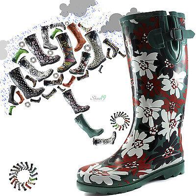 Women Round Toe Rainboots Trend Style Mid Calf Knee High Rubber Snow Rain Boots