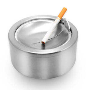Round-Stainless-Steel-Cigarette-Lidded-Ashtray-Silver-with-Windproof-Lid-Cover-l