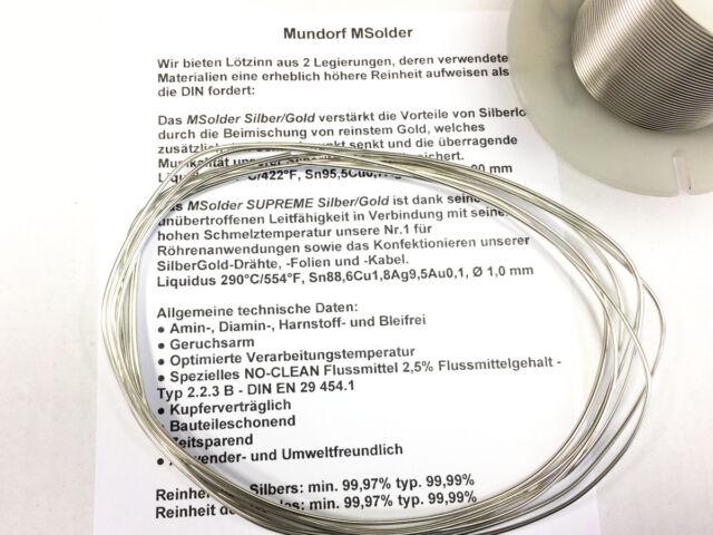 1m Pièce Mundorf Msolder Silver Doré Audiophile Soudure Soudure Argenté 5,88g