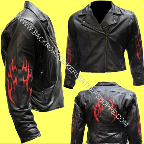 Ladies Womens Leather Motorcycle Style Jacket Red Tribal Flames– Sizes XS-4X