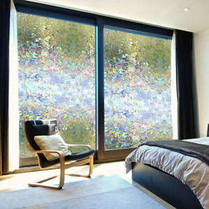 Details about Non Adhesive 3D Privacy Window Films Sticker Static Cling  Reusable Glass Film US