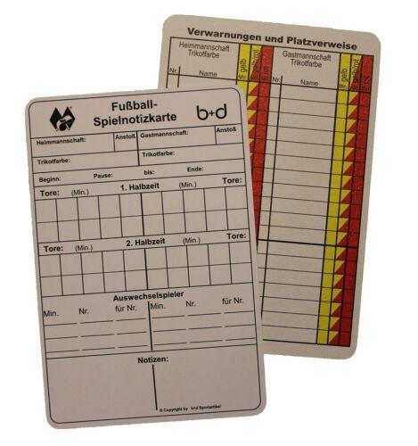 50 b+d Spielnotizkarten für SchiedsrichterSchiri Notiz Karten Fußball