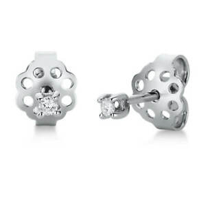 Solitaire-Earrings-750-White-Gold-with-2-Diamonds-0-06-CT-Tw-Si