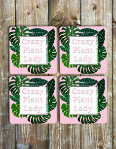 Crazy-Plant-Lady-Coasters-Set-of-4-Non-Slip-Neoprene-Mother-039-s-Day-Gift-Ideas