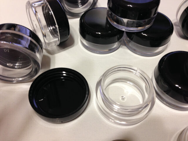 123a150c2 25 Small Cosmetic Jars Empty DIY Beauty Lip Balm Containers 5 Gram 5 Ml  Black