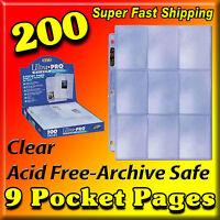 200 9 Pocket Pages Ultra Pro Silver Baseball Card Mlb Pokemon Vanguard 81442-200