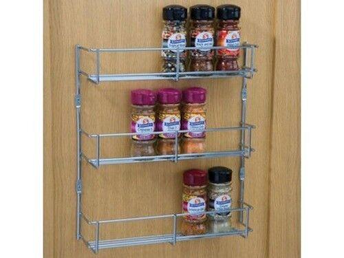 3 Tier Heavier Duty Spice Rack Chrome Kitchen Cabinet Door Mounted