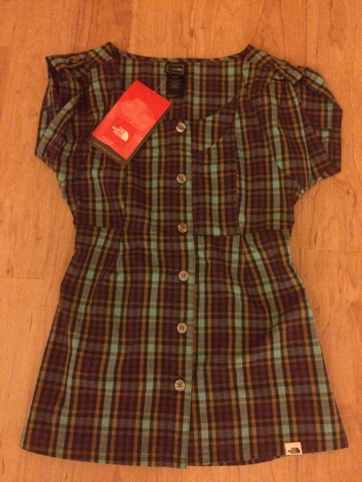 The North Face Selene New Plaid Short Sleeve Shirt Button XS