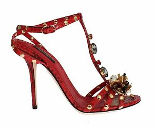 Dolce & Gabbana Red Python Snakeskin Sandals Crystal Shoes - Size: eu38-us7-5 a28tvqnVM