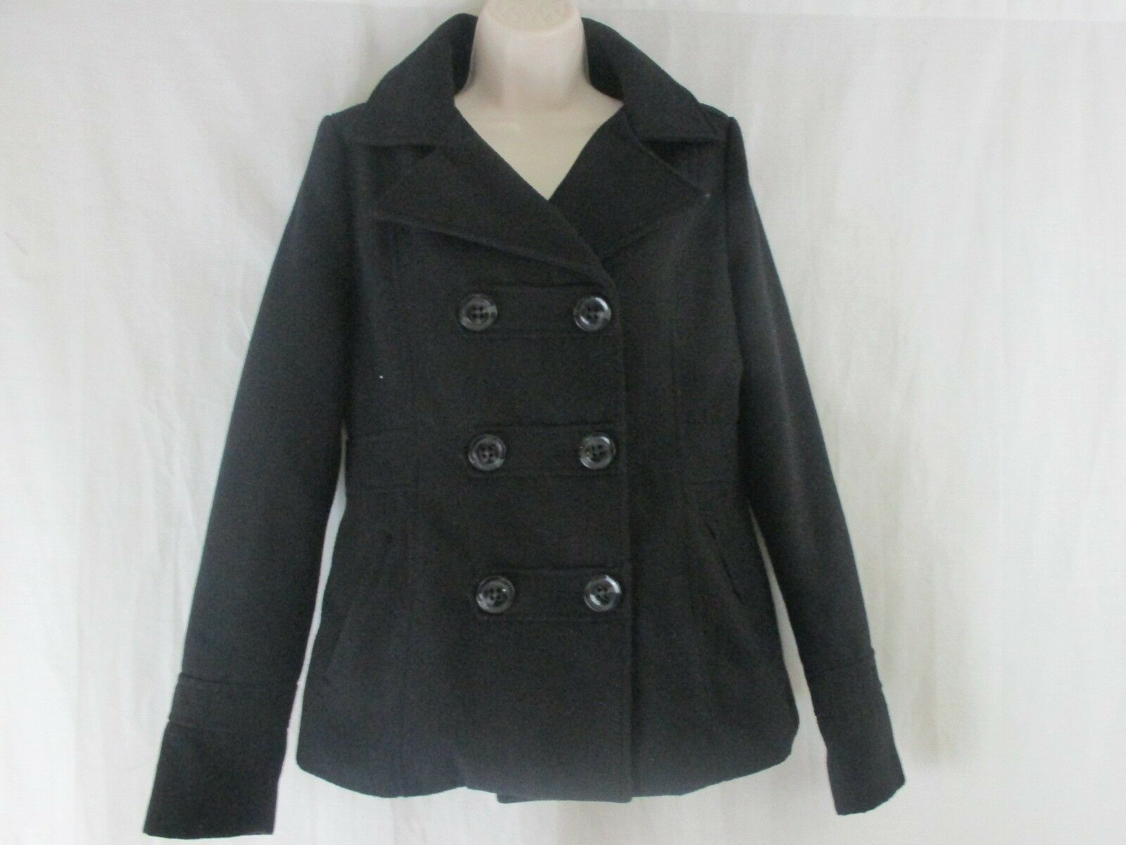 Woherren American Rag Cie schwarz Hooded Pea Coat Größe Medium      st1