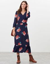 Joules Womens Chloe Fixed Wrap Dress With Split - Navy Peony