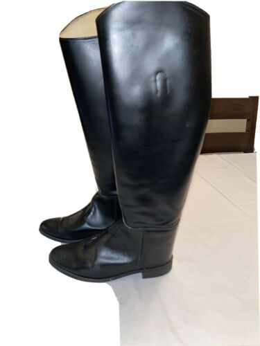 Vintage Black Leather Equestrian Tall Riding Boots