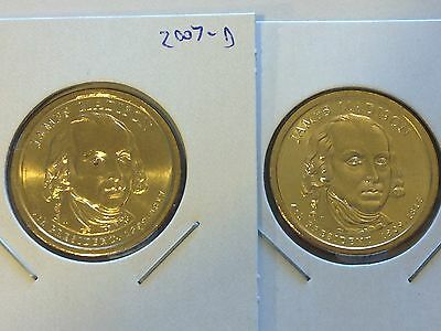 """3 Coin Set 2007 P+D+S James Madison Presidential Dollars US Mint  /""""New/"""""""