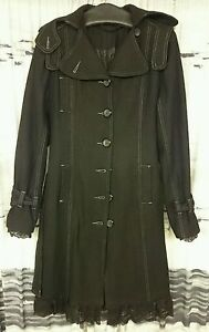 finest selection bfd18 53cbf Details zu EMP Damen Mantel Übergangsjacke L 42 Wolle Spitze Knöpfe  anthrazit schwarz grau