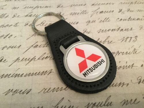 MITISUBISHI Quality Black Real Leather Keyring