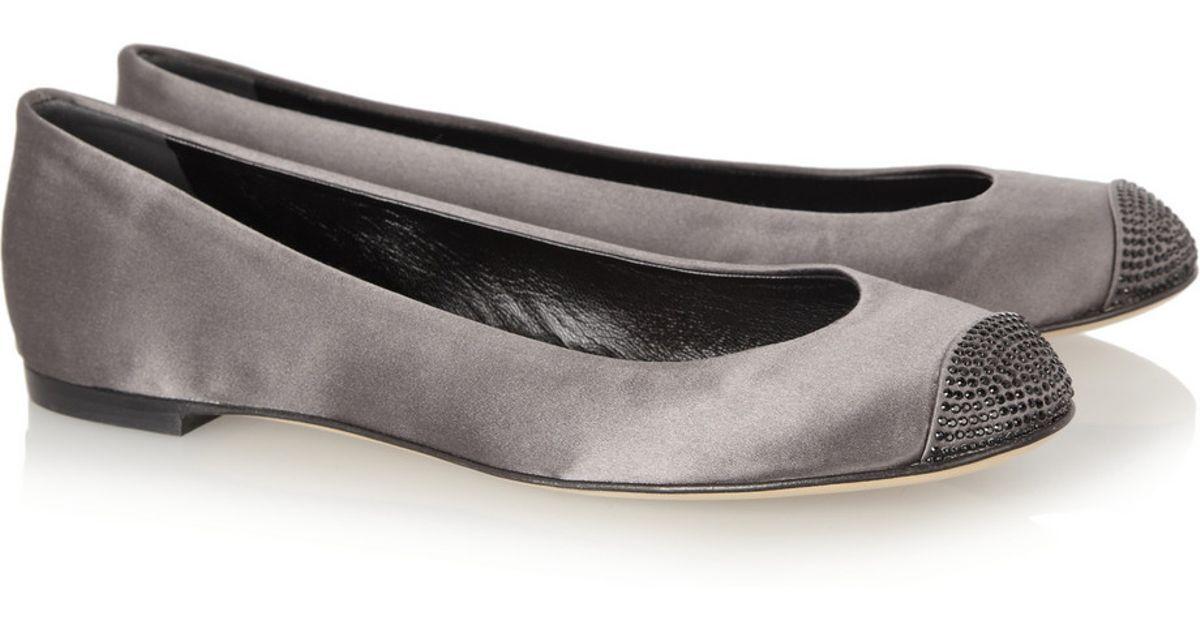 Giuseppe Zanotti grigio Swarovski Cap Toe Leather Ballet Flats rrp  890