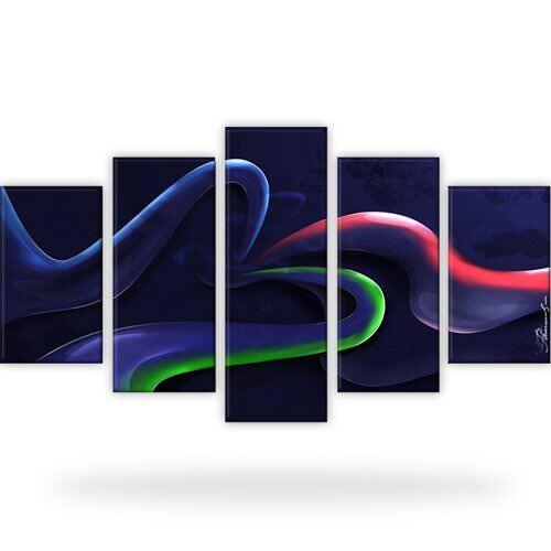 Farbige Streifen Abstraktion Bild Bilder Wandbild Kunstdruck  5 Teilig