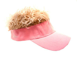 FLAIR HAIR HATS WITH HAIR FADED PINK VISOR BLONDE HAIR QUALITY SURF ... b0056ee92298