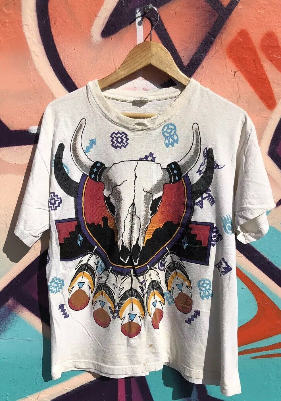 Rare Vtg 90s Indian Native American Sitting Bull Aztec Western All Over Print