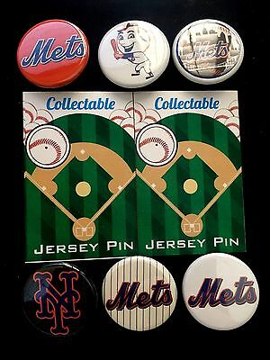 6 Let's Go New York Mets Pins-super Fan Deal-lot Of Pinbacks-collectables-