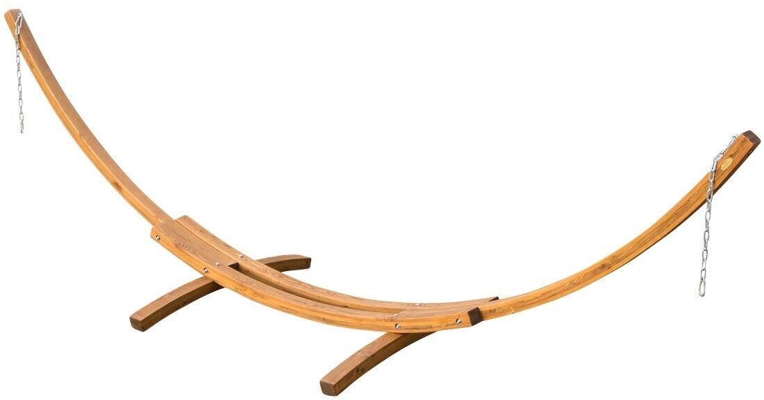 415cm XXL Luxus Hängemattengestell PANAMA aus Holz Lärche ohne Hängematte coffee