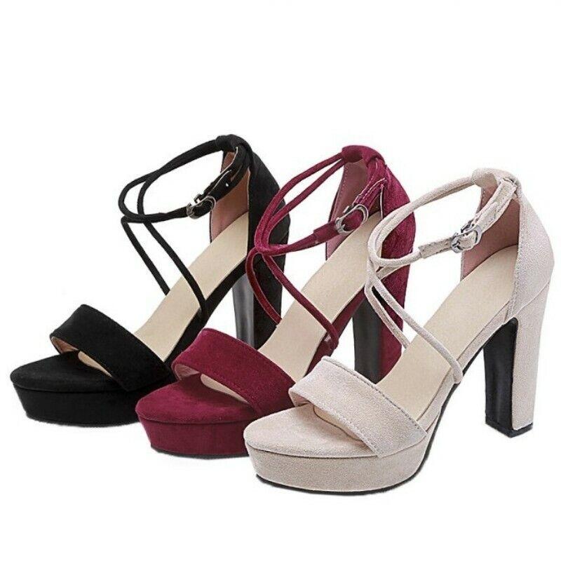 11CM de la plataforma de tacón alto punta abierta sandalias De Mujer Tobillo Hebilla Correa de Cruz Plus Sz