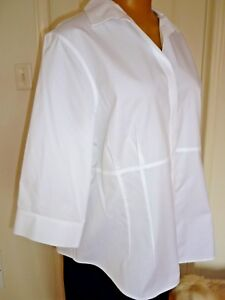 NWT-Jones-New-York-Cotton-Shirt-Blouse-White-Wrinkle-Resistant-sz-20W-1X