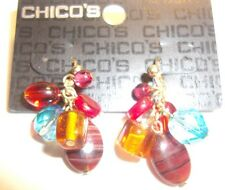 CHICO'S Earrings pierced red, pink, gold, blue, brown, crystals dangle stunning
