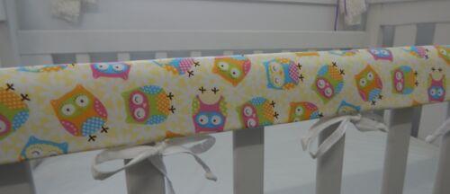 Cot Rail Cover Crib Teething Pad Owls Cream  SET OF TWO