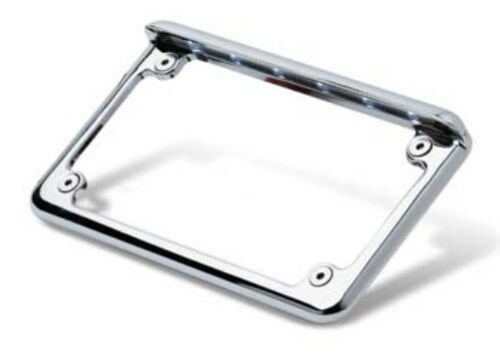 Horizontal Mount LED Motorcycle License Plate Frame in Chrome Finish