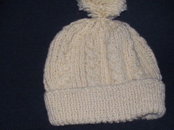 c6732c752f6 Ladies Hand Knit Pale Lemon Aran Bobble Hat - BNWOT. Hover to zoom
