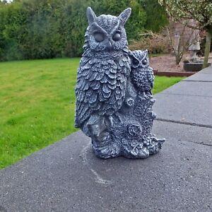 Steinfigur Figur Eule Kauz Vogel Uhu Skulptur Garten Deko Frostfest