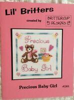 Mini Pattern Counted Cross Stitch Lil Britters Precious Baby Girl Teddy Bear