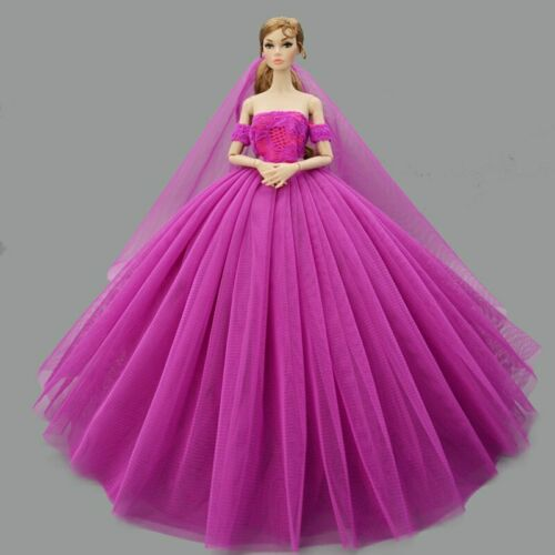 "Purple Fashion Wedding Dress for 11.5/"" Doll Clothes Princess Dresses Outfits 1//6"