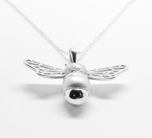 CHAIN OPT SOLID 925 HALLMARKED STERLING SILVER 28MM HONEY BEE PENDANT 5.0GMS