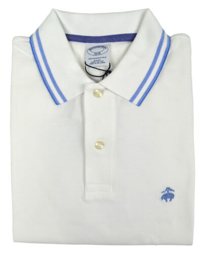 Brooks Brothers Mens White Striped Collar Slim Fit Polo Shirt X-Large XL 3698-3