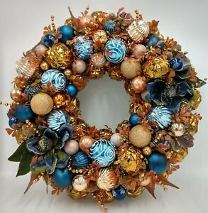 Details About Smoky Blue Burnt Orange Splendor Christmas Ornament Wreath