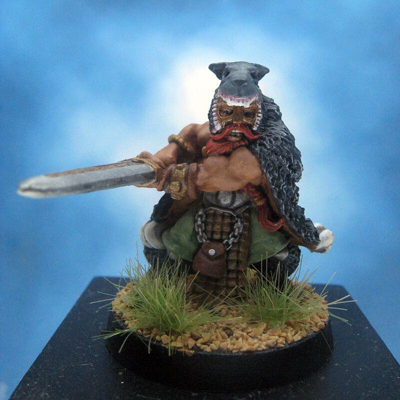 Painted I-Kore Celtos Miniature Vidar Wolf Helm