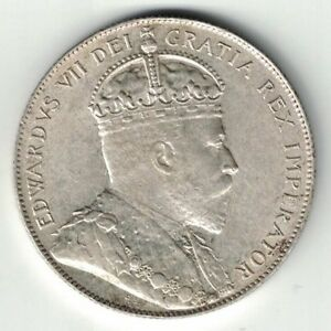 NEWFOUNDLAND-1909-FIFTY-CENTS-KING-EDWARD-VII-STERLING-SILVER-COIN-HIGH-GRADE
