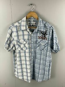 Kenji-Urban-Men-s-Short-Sleeve-Graphic-Casual-Shirt-Size-Large-White-Blue