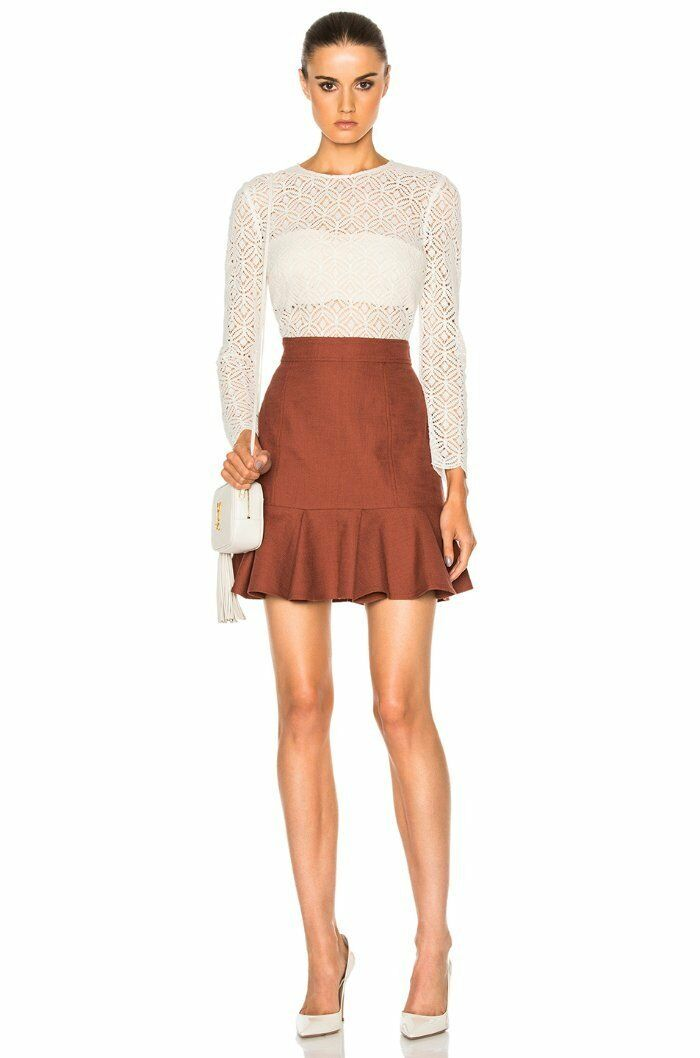695 Veronica Beard White Lace Rust Bex Ruffle Hem Illusion Dress 10 NWT V251