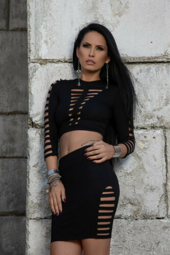 Damenrock Top Shirt Pencilrock Skirt 2-Teiler Set  By Alina 34-38 #B273