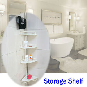 4 shelves Robust Telescopic Toilet Bathroom Space Saver Storage Rack Stand Home