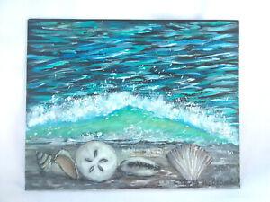 Original-Acrylic-Painting-8-034-x10-034-Canvas-Panel-Seashells-Beach-Wave-Seascape-Art