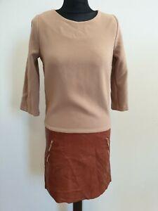 D595-WOMENS-CLAUDIE-PIERLOT-BROWN-COTTON-LEATHER-DRESS-UK-10-EU-36